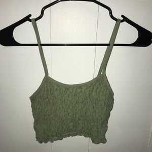 Green ruched crop tank